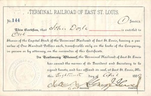 Terminal Railroad of East St. Louis signed by George J. Gould