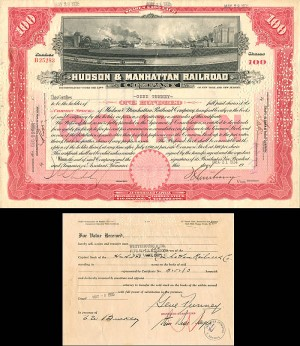 Hudson & Manhattan Railroad signed by Gene Tunney