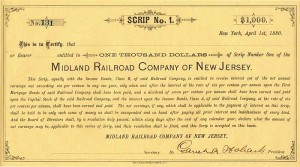 Garret A. Hobart signed Midland Railroad Company of New Jersey