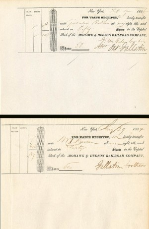 Pair of Mohawk & Hudson Railroad signed by James Gallatin