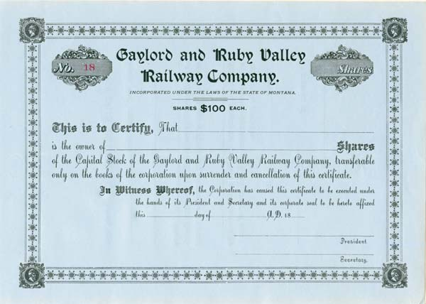 Gaylord & Ruby Valley Railway - Stock Certificate