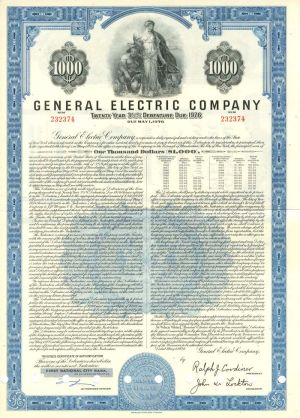 General Electric Company $1000 Bond - SOLD