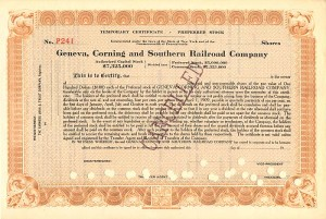 E.V.W. Rossiter signed Geneva, Corning and Southern Railroad Company