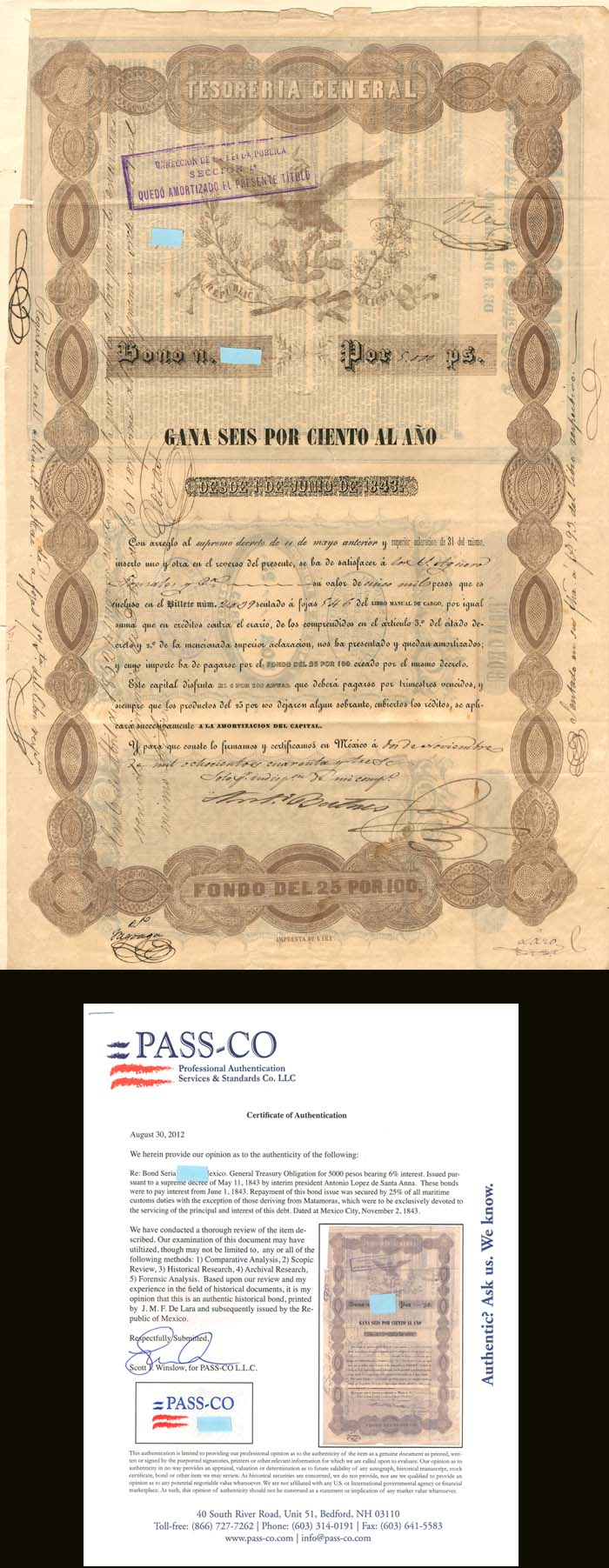 """Black Eagle"" - 5,000 Pesos General Treasury Obligation - SOLD"