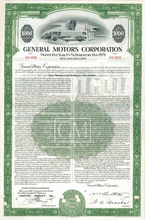 Collectible automotive bonds for General motors company profile