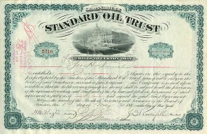 Standard Oil Trust issued to Geo H. Lincoln and signed by John D. Rockefeller and Henry M. Flagler