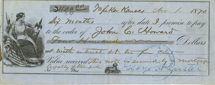 Rare Autographed Promissory Note by George A. Custer
