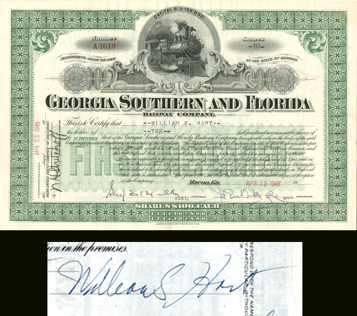 Georgia Southern and Florida Railway Company signed by Wm. S. Hart