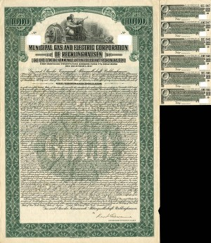 Municipal Gas and Electric Corporation of Recklinghausen - $1,000 - SOLD