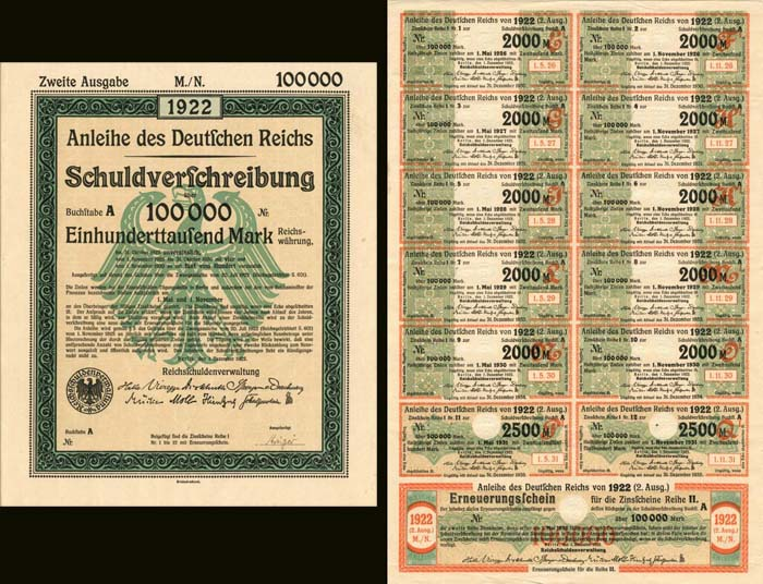 Anleihe des Deutfchen Reichs Schuldverfchreibung 100,000 Mark - PRICE ON REQUEST - PRICE ON REQUEST
