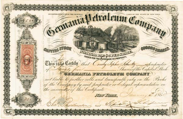 Germania Petroleum Company - Stock Certificate