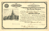 German Evangelical Lutheran St. Petri Church $10 Bond - SOLD