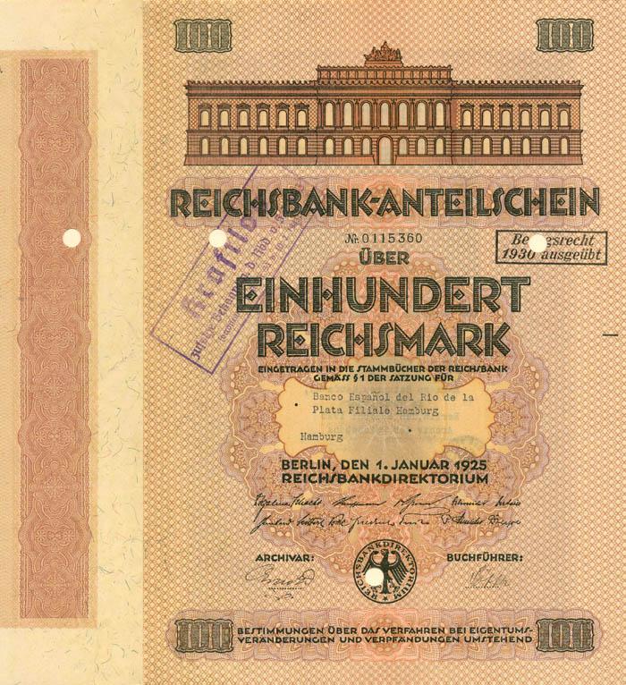 Reichsbank-Anteilschein - Stock Certificate
