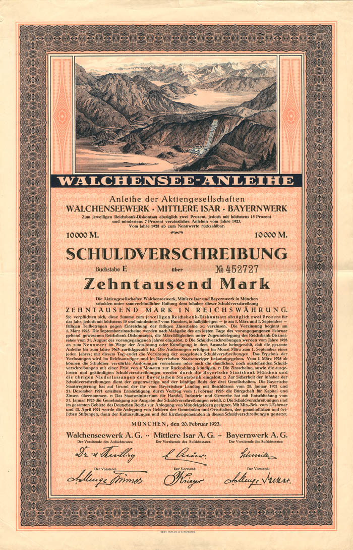 Walchensee-Anleihe - 10,000 or 20,000 Mark Bond