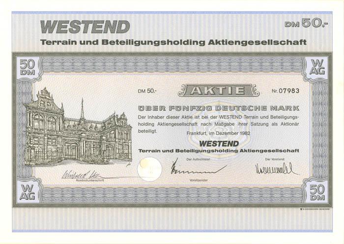 Westend Terrain und Beteiligungsholding Aktiengesellschaft - Stock Certificate