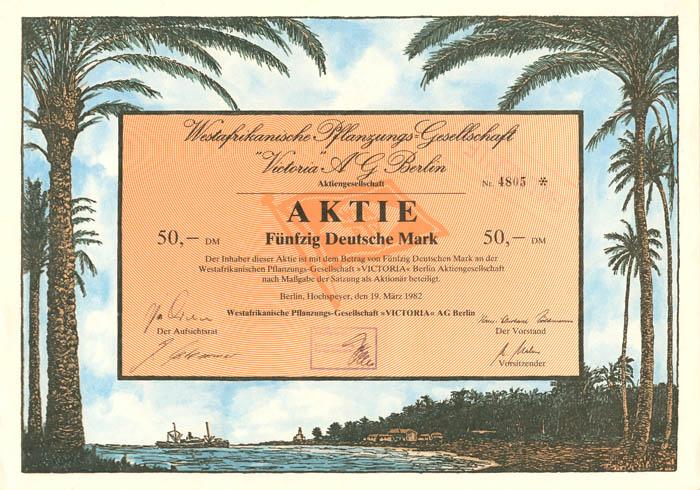 Westafrikanische Pflanzungs-Gesellschaft - Stock Certificate