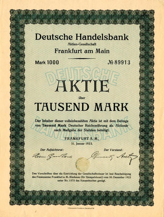 Deutsche Handelsbank - Stock Certificate