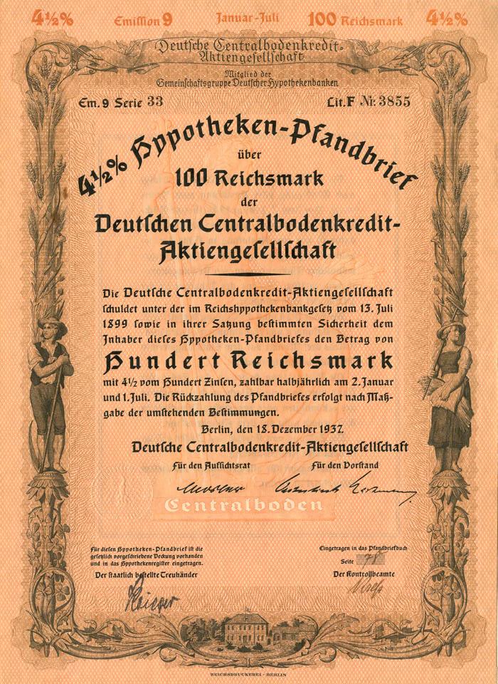 Deutschen Centralbodenkredit-Aktiengesellschaft - Stock Certificate