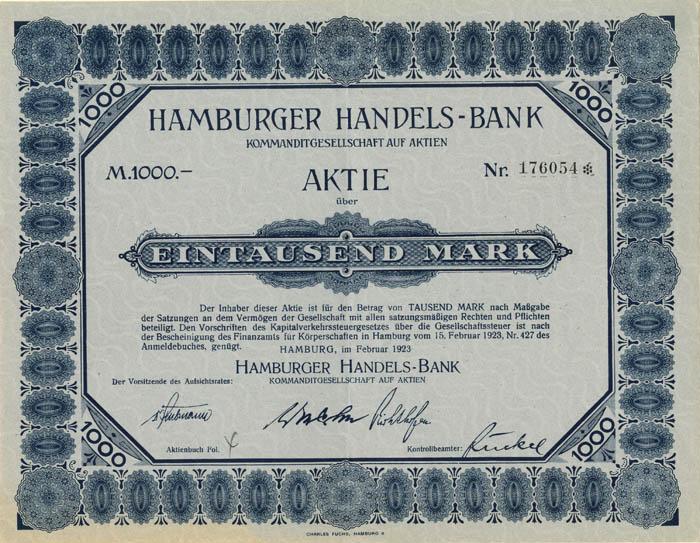 Hamburger Handels - Bank - Stock Certificate