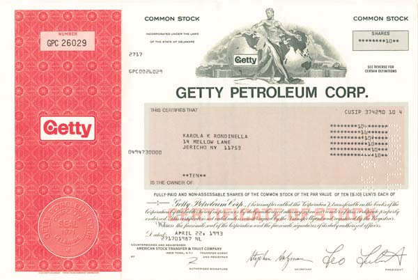 """Getty Petroleum Corporation - The Man behind the Movie """"All the Money in the World"""" - Stock Certificate"""