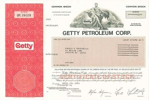 "Getty Petroleum Corporation - The Man behind the Movie ""All the Money in the World"" - Stock Certificate"