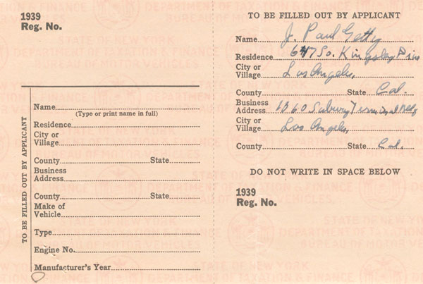 """J. Paul Getty signed 1939 Car Registration - The Man behind the Movie """"All the Money in the World"""""""