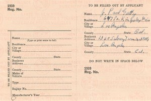 "J. Paul Getty signed 1939 Car Registration - The Man behind the Movie ""All the Money in the World"""