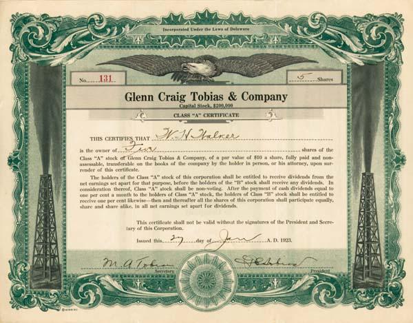 Glenn Craig Tobias & Company - Stock Certificate