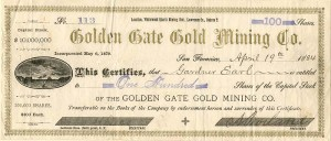 Golden Gate Gold Mining Co. - SOLD