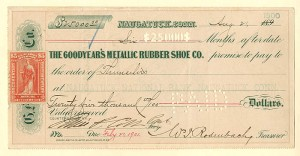 Goodyear's Metallic Rubber Shoe Co. Check signed by Samuel P. Colt n- SOLD