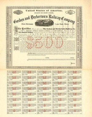 Goshen and Deckertown Railway Company - $500 Bond