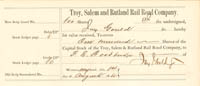 Troy, Salem and Rutland Rail Road Company signed by Jay Gould