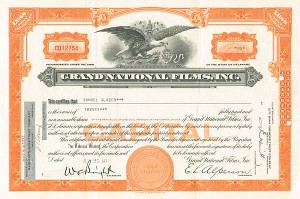 Grand National Films, Inc - SOLD - Stock Certificate - SOLD