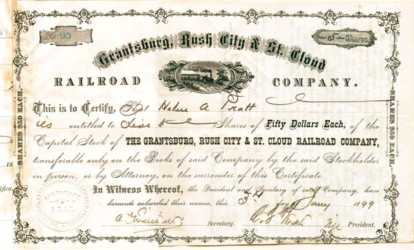 Grantsburg, Rush City & St. Cloud Railroad Company - Stock Certificate