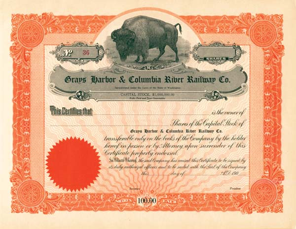 Grays Harbor & Columbia River Railway Co. - Stock Certificate