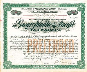 Great Atlantic & Pacific Tea Company signed by George H. Hartford - Stock Certificate