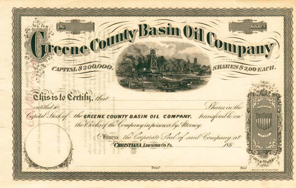 Greene County Basin Oil Company - Stock Certificate