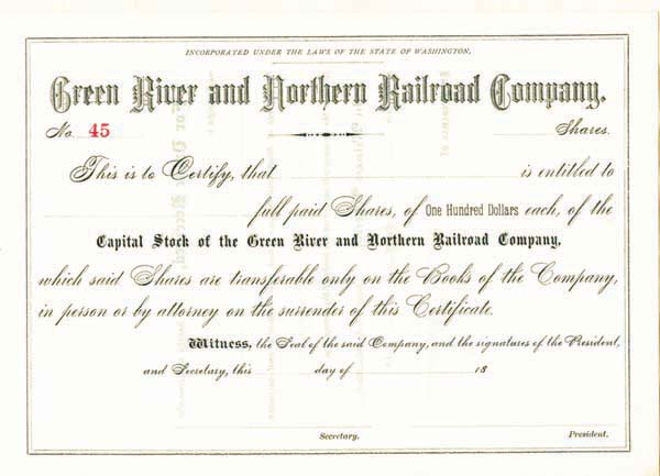 Green River & Northern Railroad Company - Stock Certificate