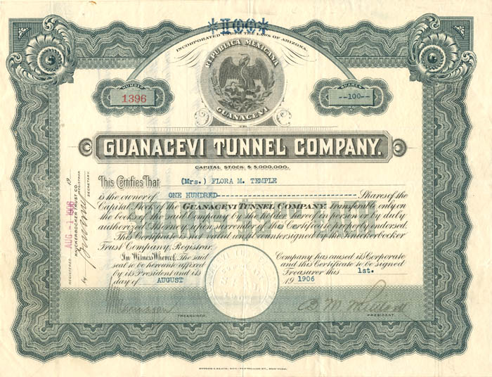 Guanacevi Tunnel Company - Stock Certificate