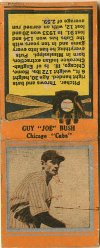 "Guy ""Joe"" Bush Matchbook"