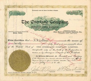 Overland Company Issued to and Signed by H.B. Eastman