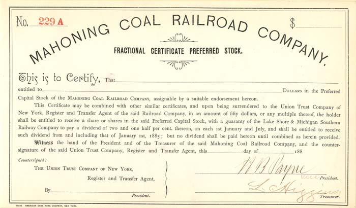 Mahoning Coal Railroad Company signed by H.B. Payne