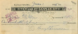 Harry Truman signed Check