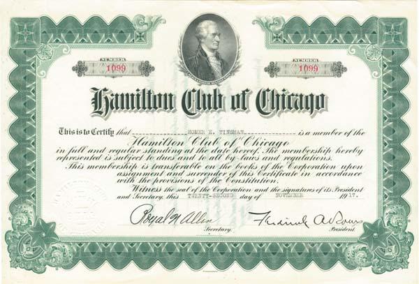 Hamilton Club of Chicago - SOLD