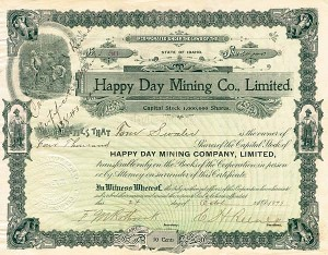Happy Day Mining Company, Ltd - Stock Certificate