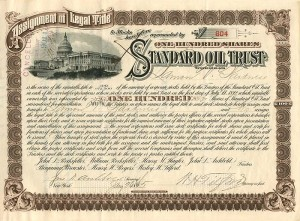 Standard Oil Trust signed by Lamon V. Harkness, Archbold, and Tilford