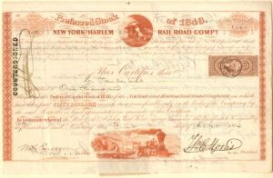 New York and Harlem Railroad - Issued to and signed by the Commodore Cornelius Vanderbilt!