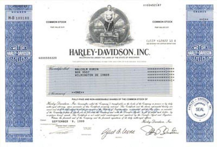 Harley-Davidson, Inc - Stock Certificate
