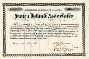 Staten Island Associates signed by Wm. E. Harmon