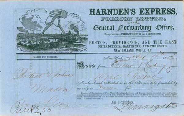 Livingston Signed Harnden's Express